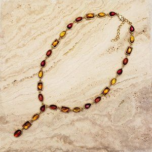 Y Necklace with Red and Gold Crystals